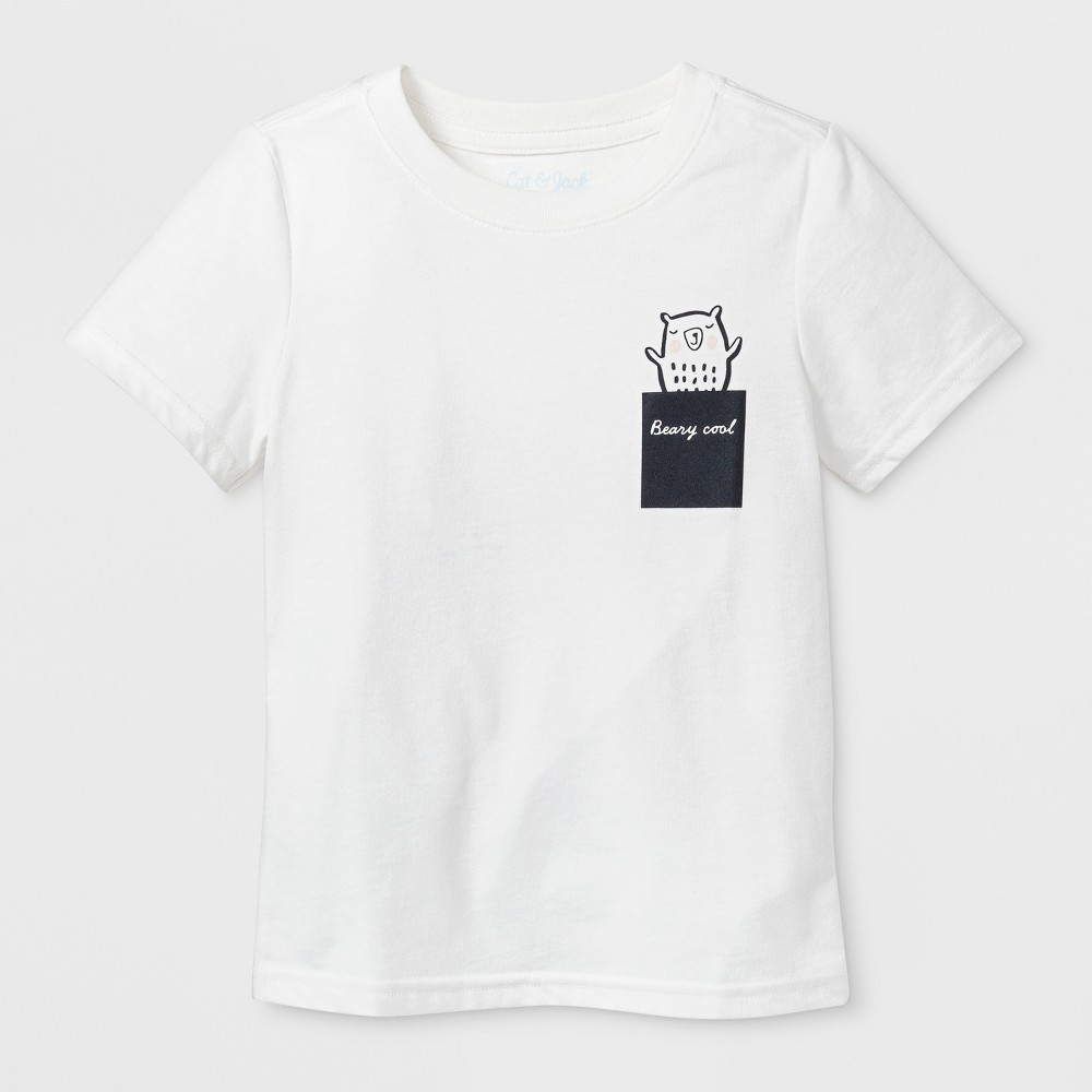 Toddler Short Sleeve 'Beary Cool' Graphic T-Shirt - Cat & Jack Almond Cream 4T, Toddler Unisex, Beige