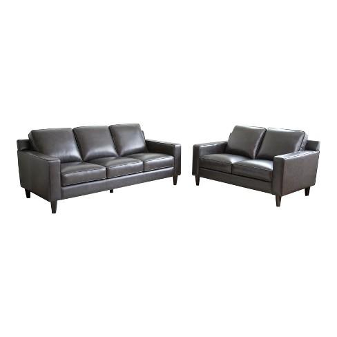 2pc Olivia Top Grain Leather Sofa & Loveseat Set Gray - Abbyson Living