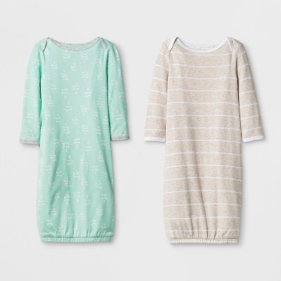 Baby 2pk Gown Set Cloud Island™ - Mint/Oatmeal 0-6M