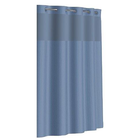 Hookless Herringbone Shower Curtain With Liner Bright White