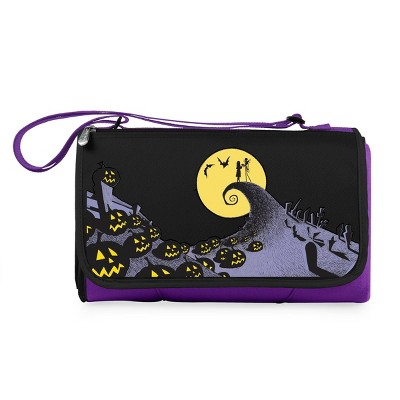 Picnic Time Disney Nightmare Before Christmas Jack and Sally Blanket Tote Outdoor Picnic Blanket - Purple