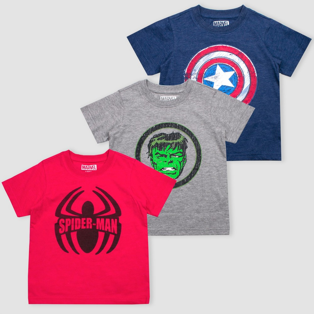 Toddler Boys Disney Marvel Avengers 3pk Short Sleeve Graphic T-Shirt - Red/Blue/Gray 3T Promos