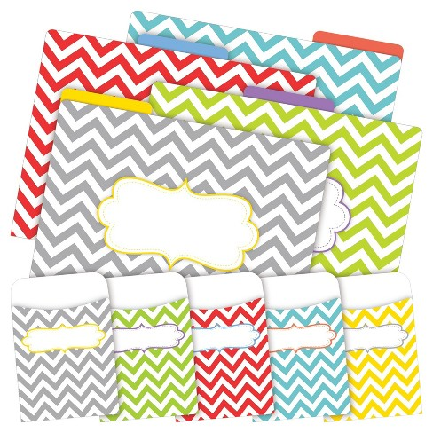 Barker Creek® 12 Letter-Size File Folders & 30 Adhesive Pockets Set - Chevron Beautiful - image 1 of 5