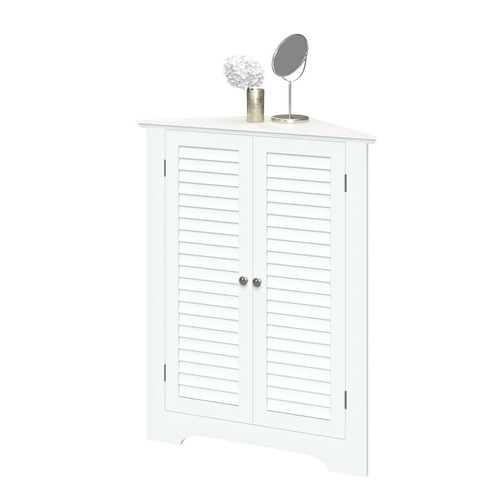 Image of 2 Door Corner Cabinet with Shutter Doors White