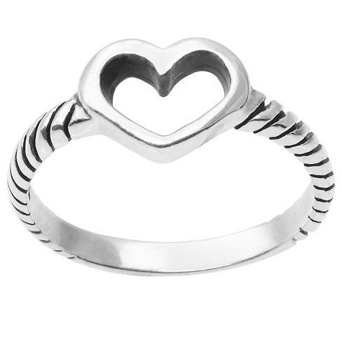 Women's Journee Collection Textured Cut-out Heart Ring in Sterling Silver - Silver - image 1 of 2