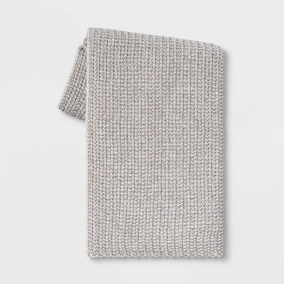 Heathered Knit Throw Gray - Threshold™