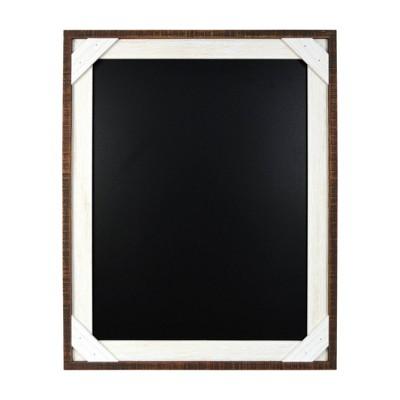 """16"""" x 20"""" Framed Reclaimed Crosshatch Chalkboard Walnut/White - Prinz"""