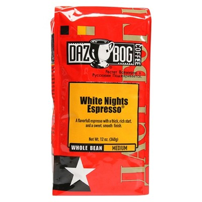 Dazbog White Nights Espresso Medium Roast Whole Bean Coffee - 12oz