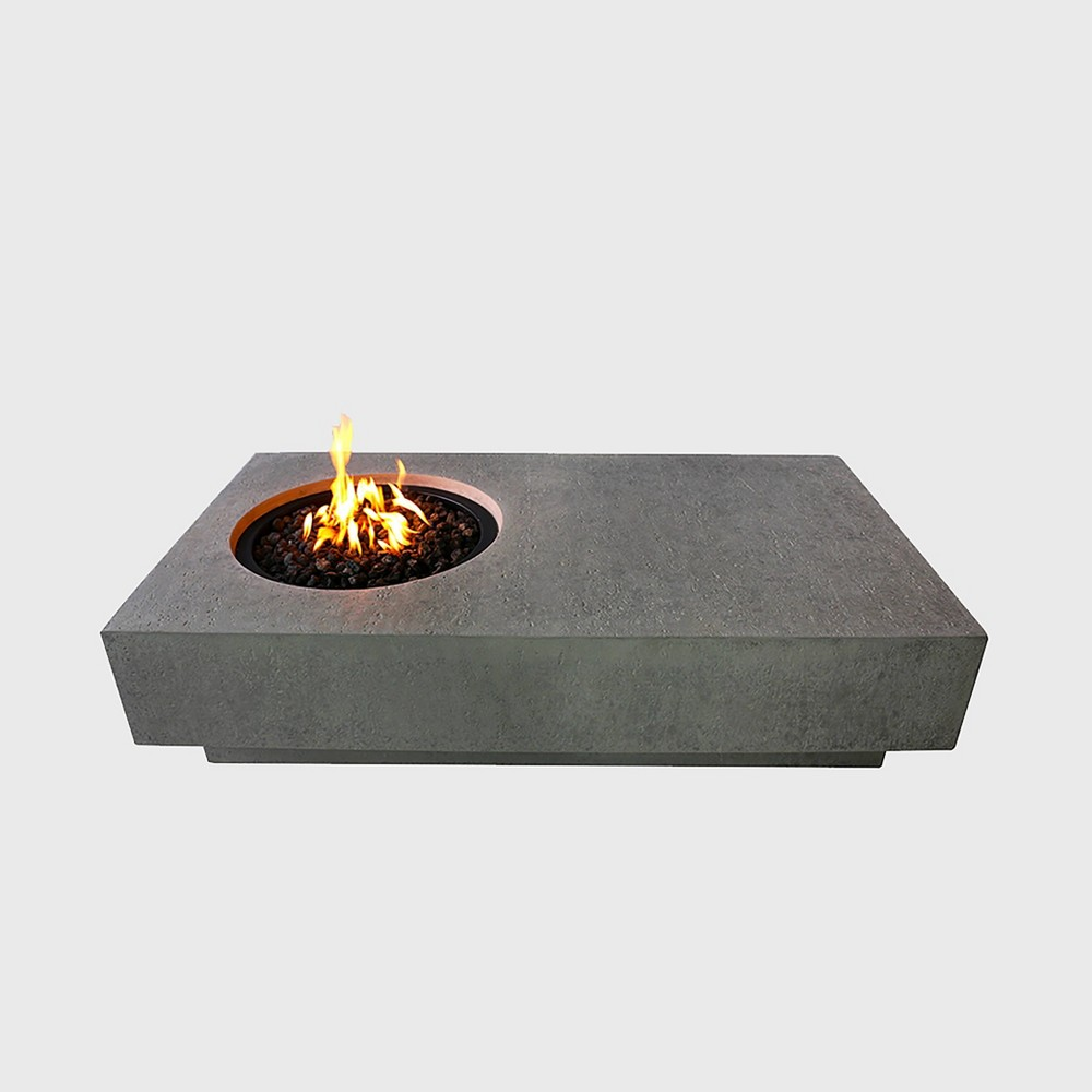 Image of Metropolis Rectangular Glass Concrete Natural Gas Fire Table - Stone Gray - Elementi