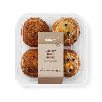 Blueberry Streusel & Cinnamon Coffee Cake Muffins Variety Pack - 14oz/4ct - Favorite Day™