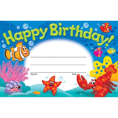 Trend Enterprises Sea Buddies Happy Birthday Recognition Awards, pk of 30 - image 1 of 1