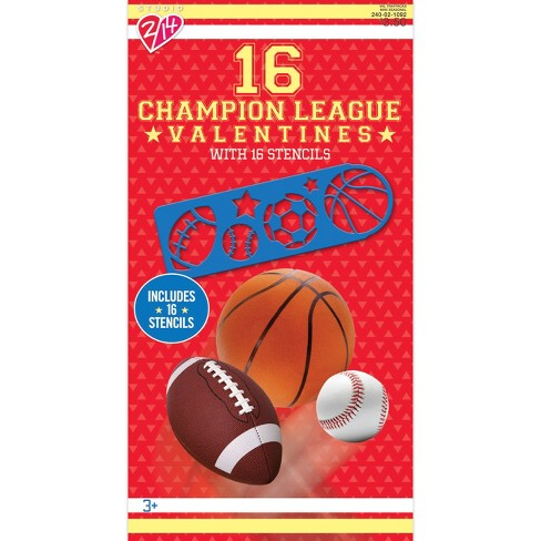 16ct Champion League Sports Valentine Card Pack With Stencils
