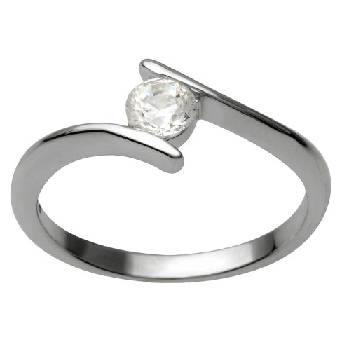 3/8 CT T.W. Round Cut Cubic Zirconia Bezel Set Bridal Style Ring in Sterling Silver (6) - image 1 of 4