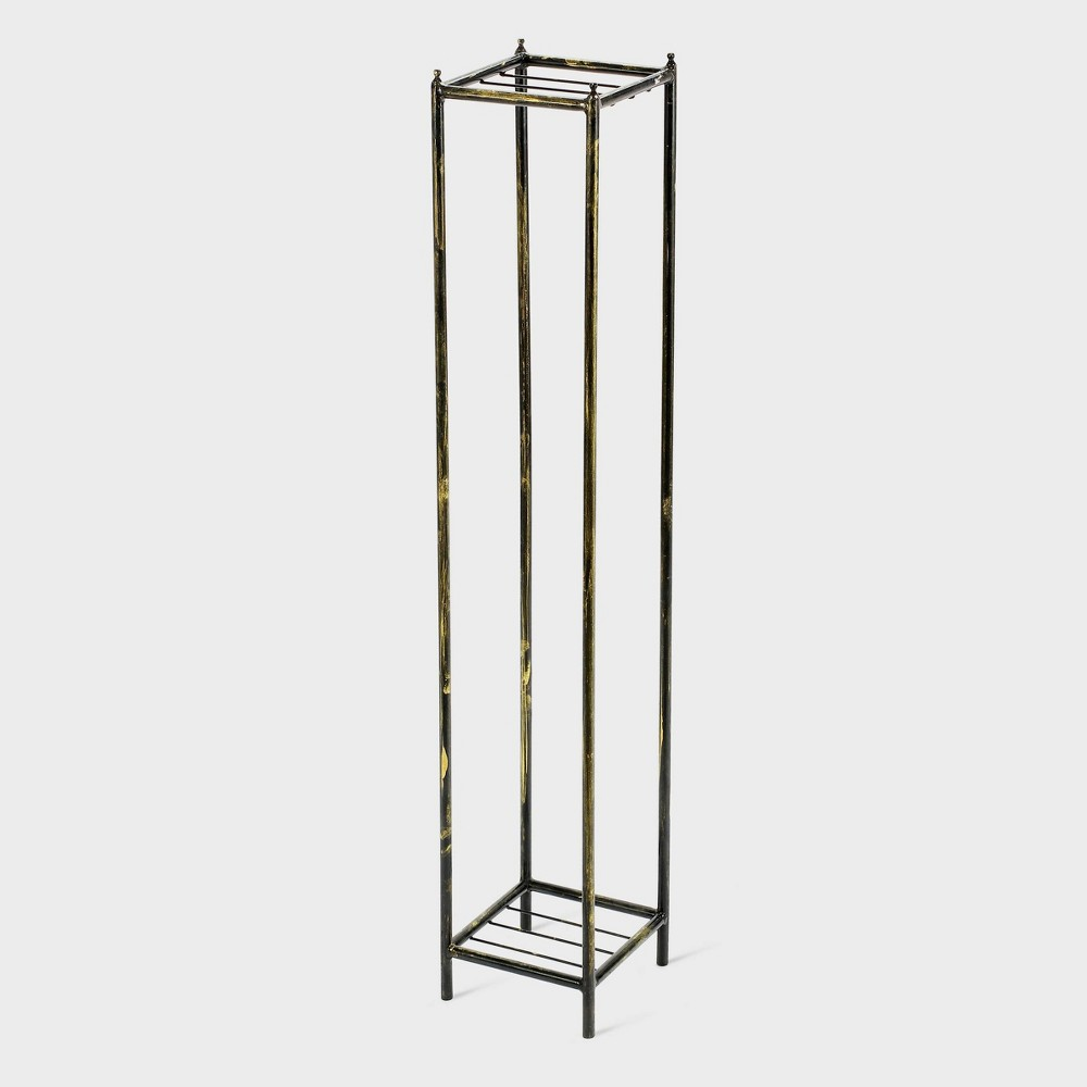 Image of 2 Tier Iron Square Plant Stand Black/Gold - Ore International