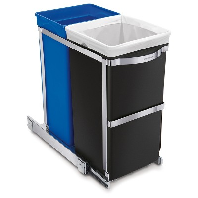 simplehuman 35 Liter Pull-Out Recycling Can - Dual Compartment,<br>Heavy-Duty Steel Frame