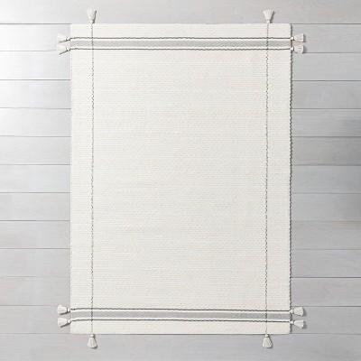 Simple Border Stripe with Corner Tassel Rug White/Gray - Hearth & Hand™ with Magnolia