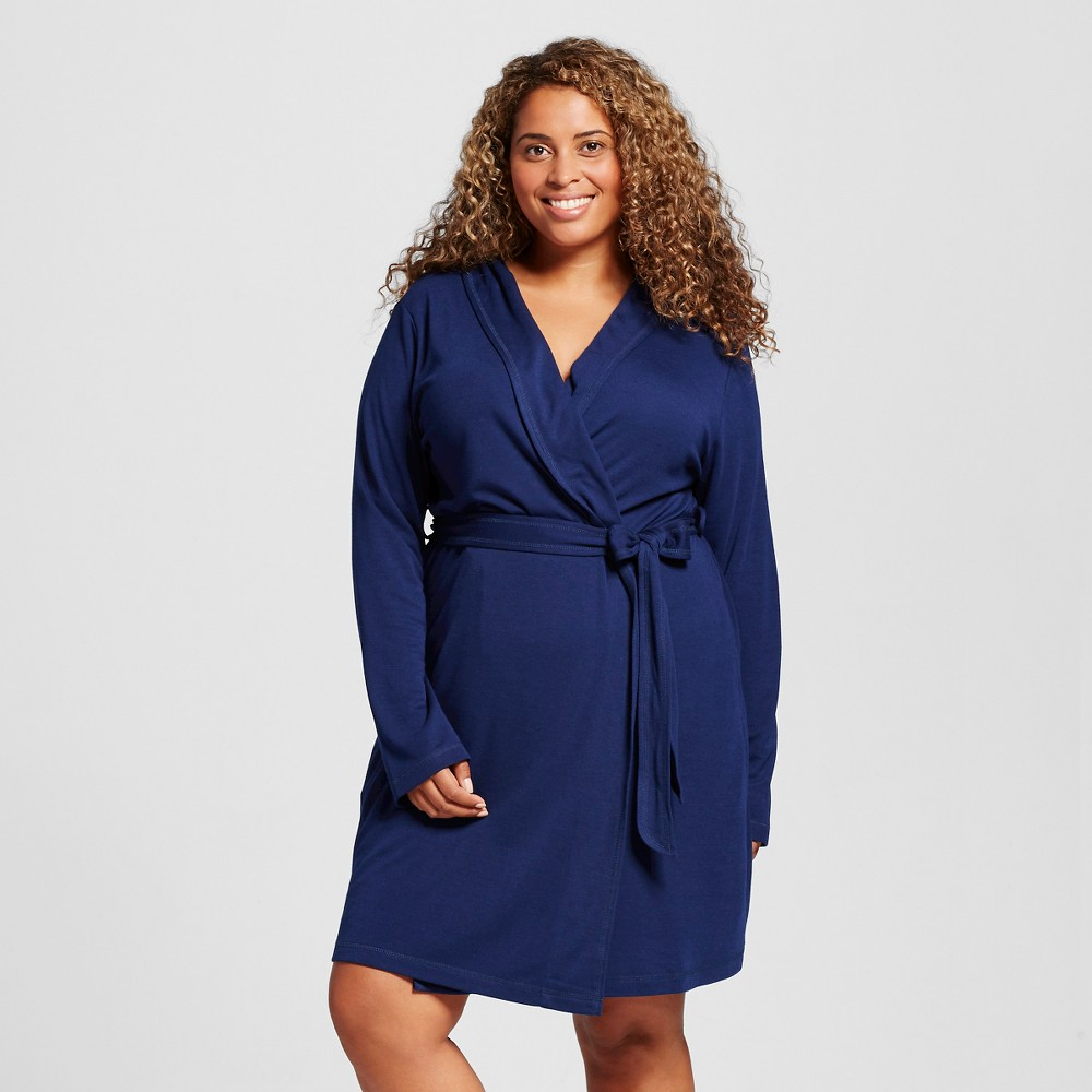 Women's Plus Size Mid Weight Robe - Nighttime Blue 3X