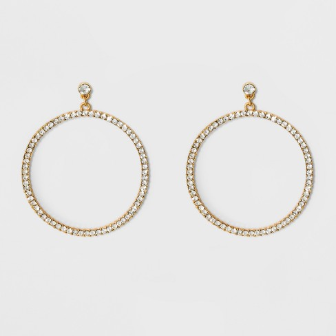 SUGARFIX by BaubleBar Oversized Hoop with Crystal Earrings - Gold - image 1 of 3