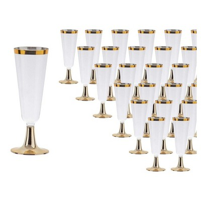 """Juvale 50-Pack Plastic Clear 6.4"""" Champagne Flutes with Gold Rim 5 oz Disposable Reusable Party Supplies"""
