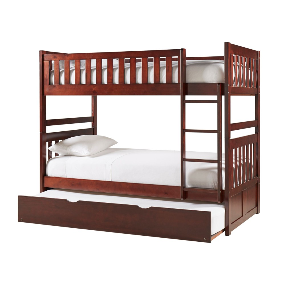 Elliot Kids Wood Bunk Bed and Trundle Twin/ Twin/ Twin Dark Cherry - Inspire Q, Red
