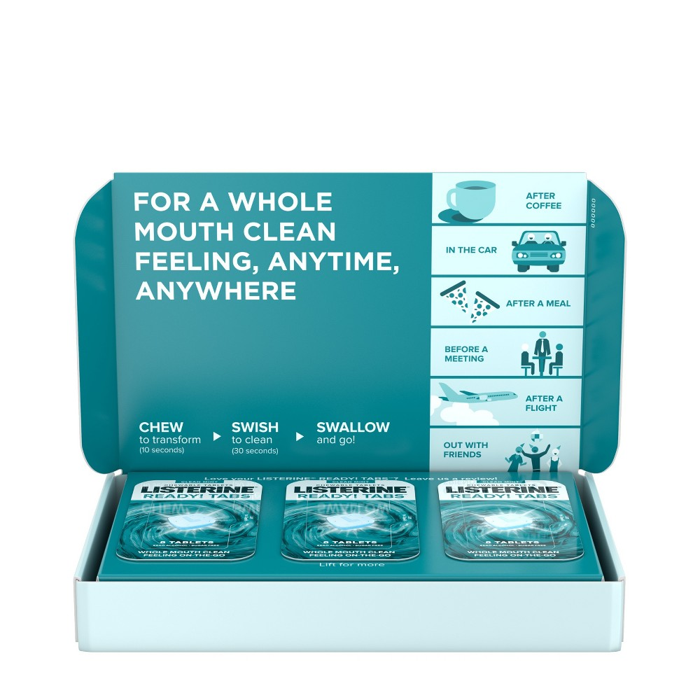 Listerine Ready! Tabs Chewable Tablets with Clean Mint Flavor - 56ct