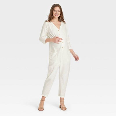 The Nines by HATCH™ Maternity 3/4 Sleeve Button-Front Jumpsuit Cream