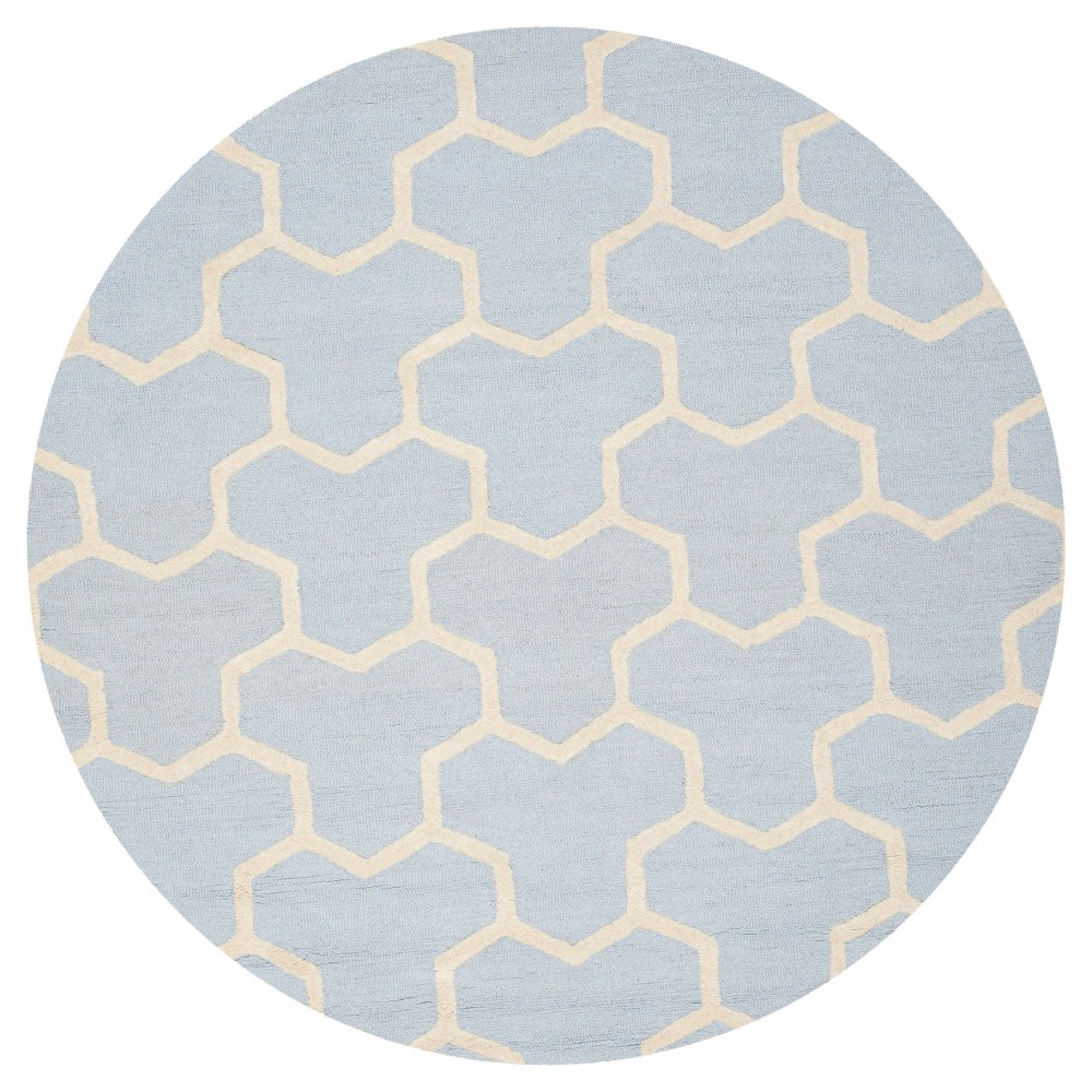 6' Geometric Area Rug Light Blue/Ivory - Safavieh