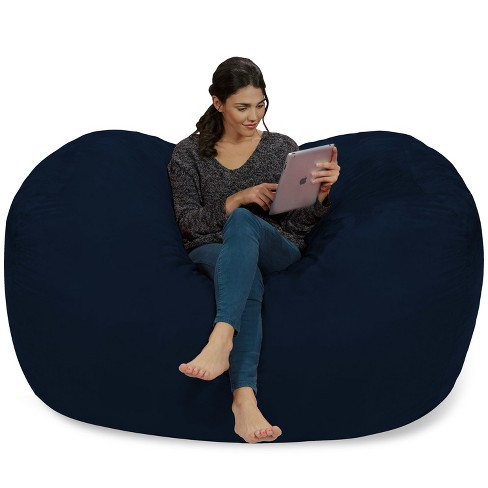 6 Large Bean Bag Lounger With Memory Foam Filling And Washable Cover Blue Relax Sacks Target