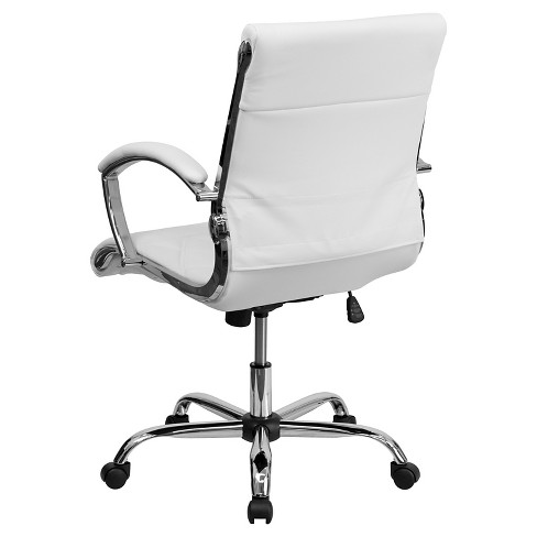 Executive Swivel Office Chair White Leather Chrome Base Flash Furniture
