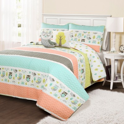 Owl Striped Quilt Set with Owl Throw Pillow Coral - Lush Décor