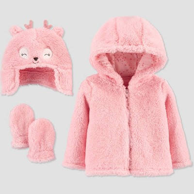 Baby Girls' Deer 3pc Faux Fur Jacket - Just One You® made by carter's Pink 3-6M
