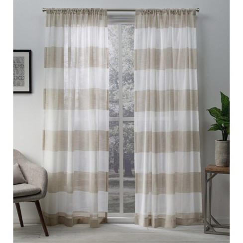 Set of 2 Darma Rod Pocket Light Filtering Window Curtain Panels - Exclusive Home - image 1 of 4