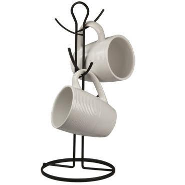 Home Basics Wire Collection 6 Hook Mug Tree, Black