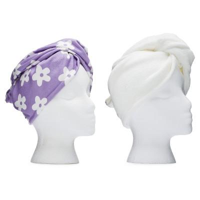 Turbie Twist Microfiber Hair Towel Purple Flower and White - 2pk