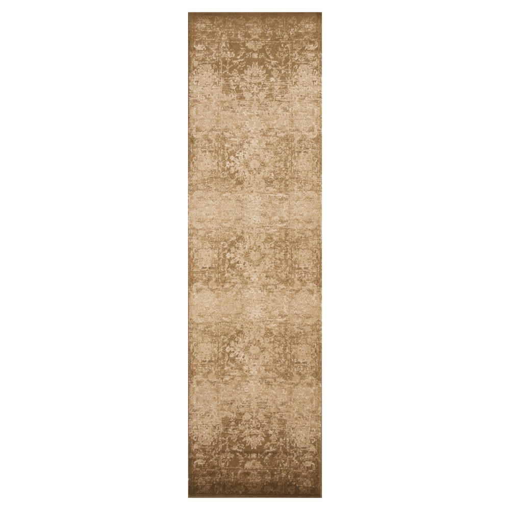 "Image of ""Beige Damask Pressed/Molded Runner 2'2""""x7'11"""" - KAS Rugs, Size: 2'2"""" x 7'11"""" Runner"""