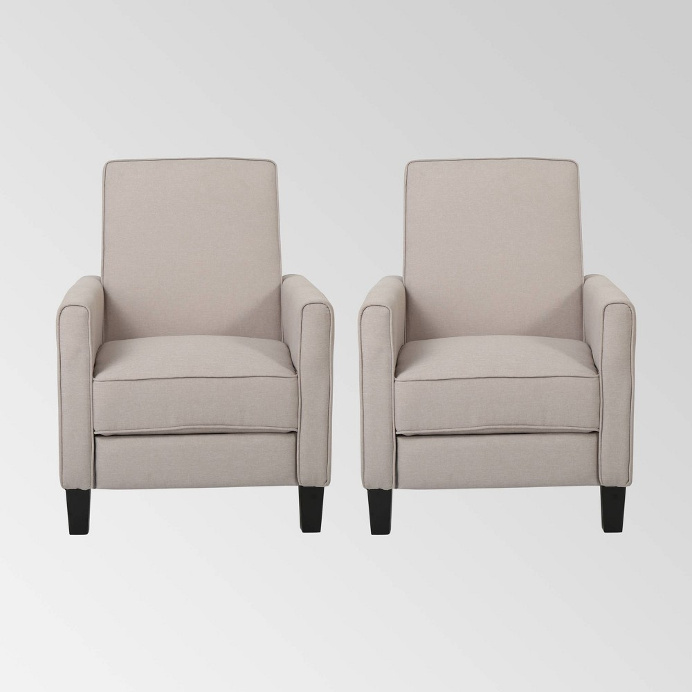 Set Of 2 Darvis Contemporary Recliners Wheat Christopher Knight Home