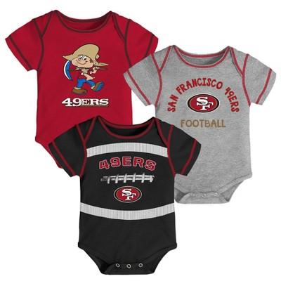 NFL San Francisco 49ers Baby Boys' Newest Fan 3pk Bodysuit Set - 0-3M
