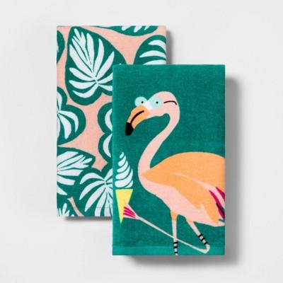 2pk Flamingo & Palm Print Kitchen Towels - Sun Squad™