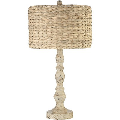 John Timberland Country Cottage Table Lamp Distressed Antique White Candlestick Rattan Drum Shade for Living Room Bedroom Bedside