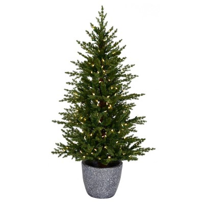 "Vickerman 4.5' x 32"" Potted Belgrade Pine Artificial Christmas Tree, Warm White Dura-lit LED Lights"
