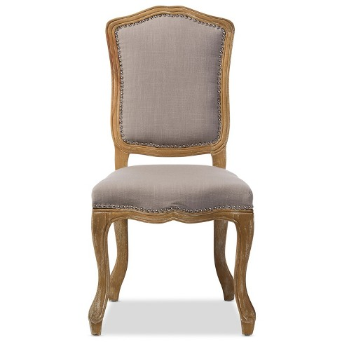 Chateauneuf French Weathered Oak Finish Fabric Upholstered Dining Side Chair Beige - Baxton Studio - image 1 of 4
