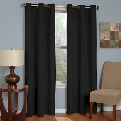 Eclipse Thermaback Microfiber Grommet Blackout Window Curtain Panel - Black (42 x95 )