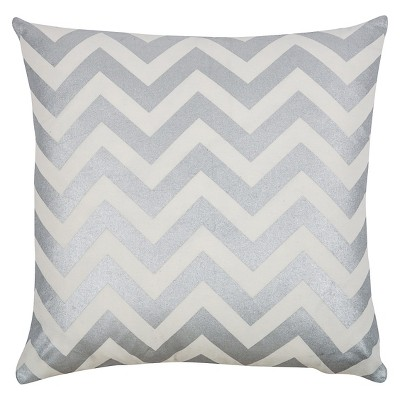 Silver/Ivory Cotton Chevron Stripe Throw Pillow - Rizzy Home