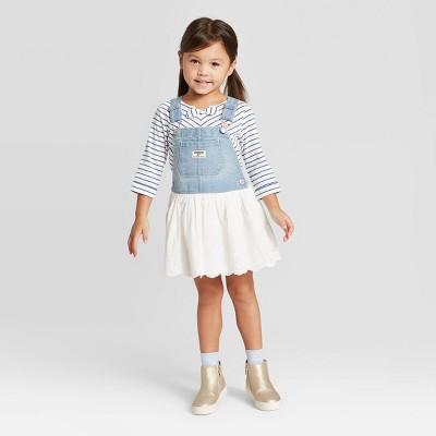 OshKosh B'gosh Toddler Girls' Eyelet Skirtall - Light Blue/White 4T