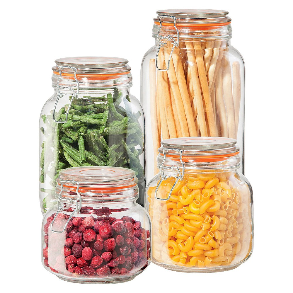 Image of Oggi 4 Piece Glass Square Clamp Canister Set with Silicone Gaskets, Clear