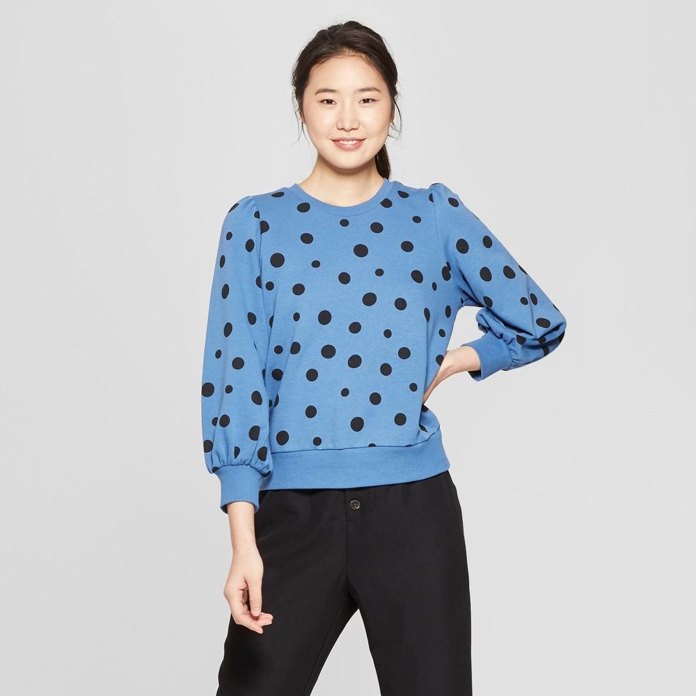 Women's Polka Dot Long Sleeve Sweatshirt - Who What Wear Blue/Black Xxl