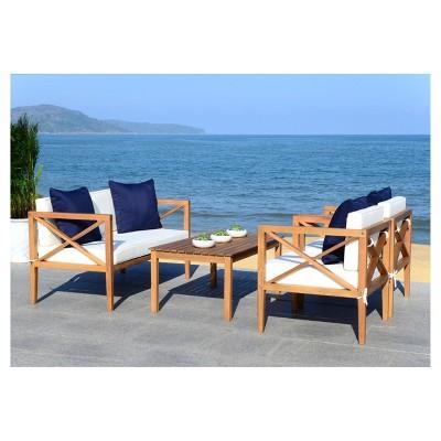 Nunzio 4pc Wood Patio Seating Set - Teak/Navy - Safavieh