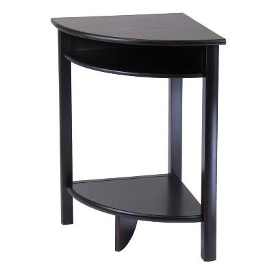 Merveilleux Liso Corner Table, Cube Storage And Shelf   Dark Espresso   Winsome
