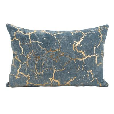 """Saro Lifestyle 12""""x18"""" Petite Foil Fragment Down Filled Throw Pillow Gray"""