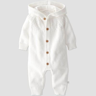 Baby Organic Cotton Knit Sweater Jumpsuit - little planet by carter's Off-White